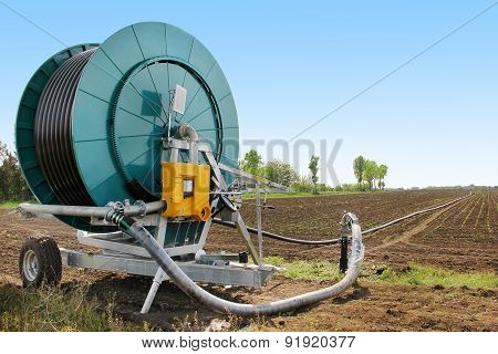Irrigation machine in the field