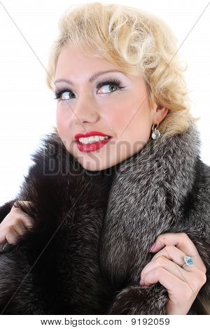 Blondie Woman With Fur Collar Dreaming