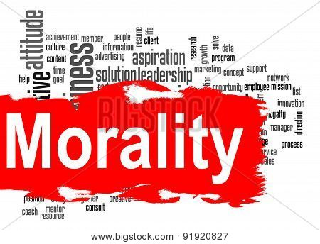 Morality Word Cloud With Red Banner