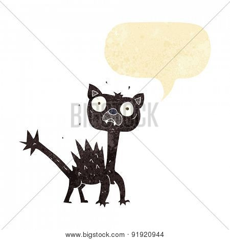 cartoon scared black cat