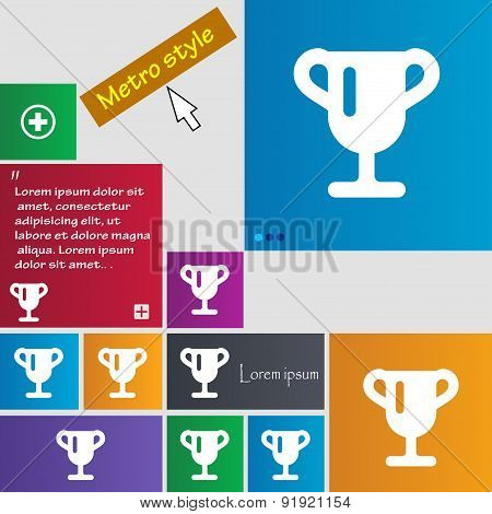 Winner Cup, Awarding Of Winners, Trophy Icon Sign. Metro Style Buttons. Modern Interface Website But