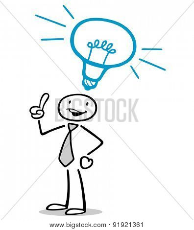 Business man having idea with lightbulb symbol over his head