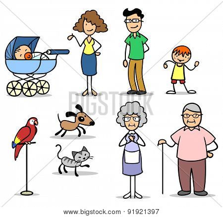 Family members with seniors and kids and baby and pets