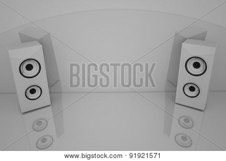 3d White speakers on the grey background with some reflections