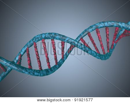 digital illustration of a dna generated in 3d