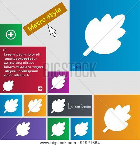 Leaf, Fresh Natural Product Icon Sign. Metro Style Buttons. Modern Interface Website Buttons With Cu