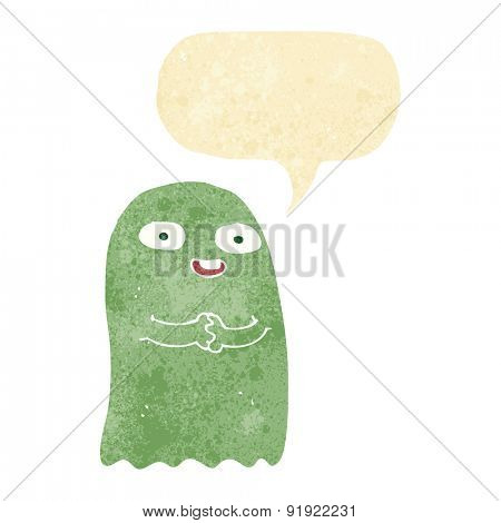 funny cartoon ghost with speech bubble