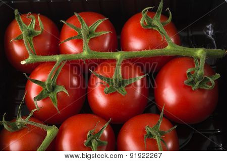 Aerial View Fresh Red Tomatoes In Black Supermaket Plastic Tray