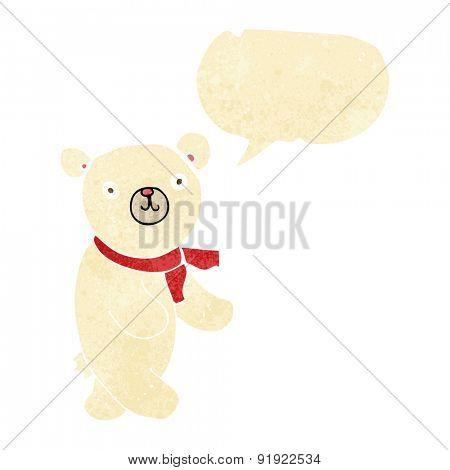 cute cartoon polar teddy bear with speech bubble