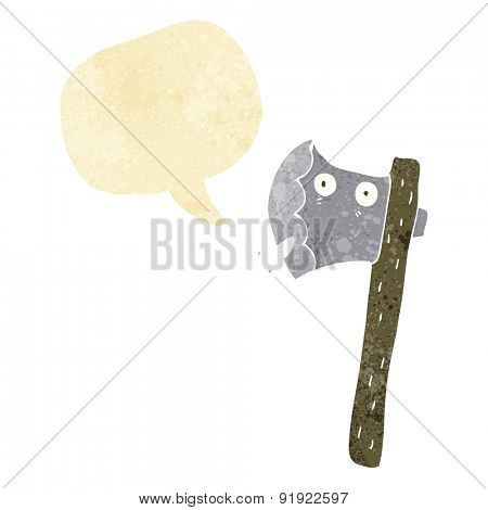 cartoon axe with speech bubble