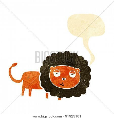 cartoon lion with speech bubble