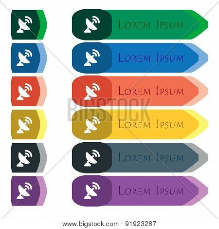 Satellite Antenna Icon Sign. Set Of Colorful, Bright Long Buttons With Additional Small Modules. Fla