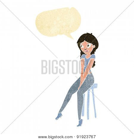 cartoon pretty girl on stool with speech bubble