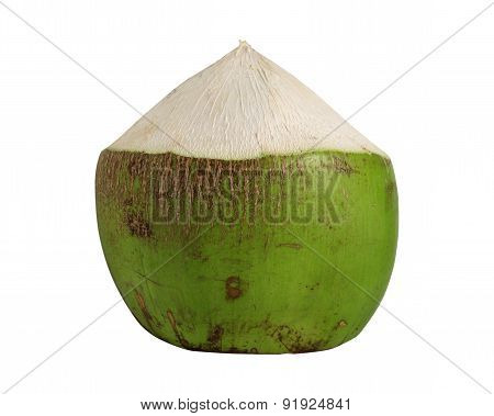 Coconut Green Fruit Isolated On White