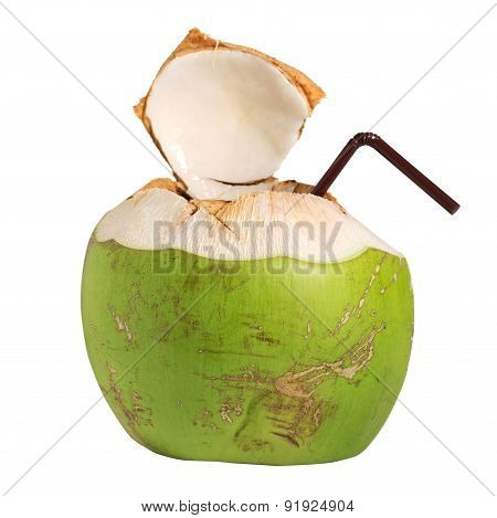 Coconut Water Fruit Drink Isolated On White