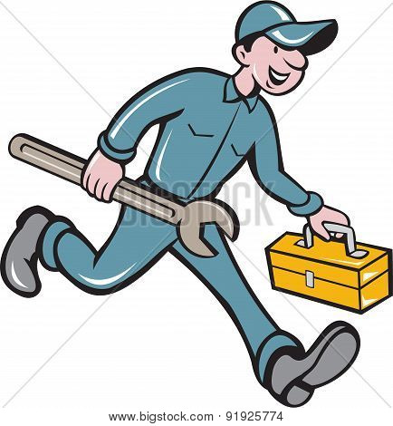 Mechanic Carrying Toolbox Spanner Isolated Cartoon
