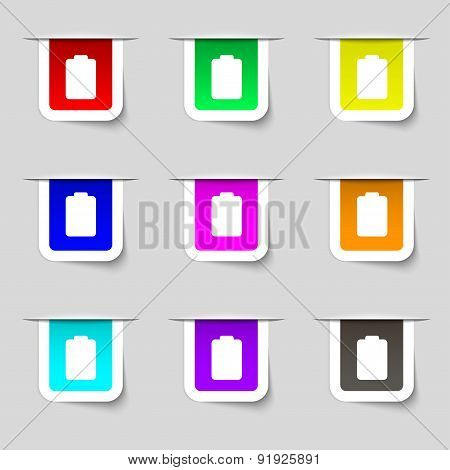 Battery Empty, Low Electricity Icon Sign. Set Of Multicolored Modern Labels For Your Design. Vector