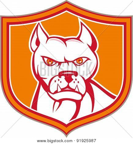 White Pitbull Dog Mongrel Head Shield Cartoon