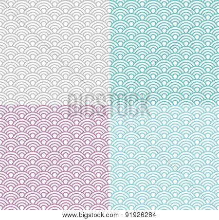 Isolated Wave Seamless Pattern Set