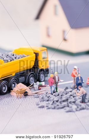 Road Works With Miniature Workers