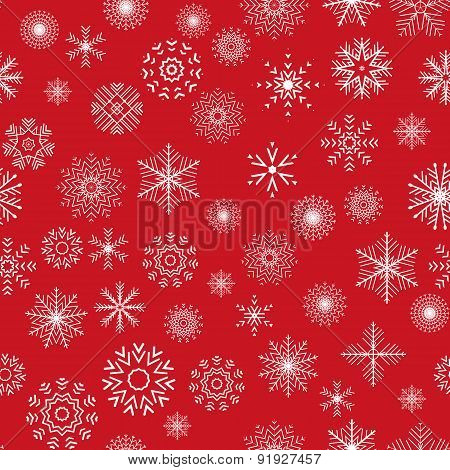 Christmas And New Year Seamless Red Pattern.