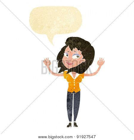 cartoon woman giving up with speech bubble