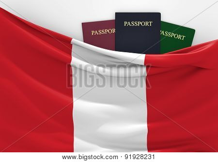 Travel and tourism in Peru, with assorted passports
