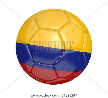 Soccer ball, or football, with the country flag of Colombia