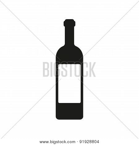 The Wine Icon. Bottle Symbol. Flat