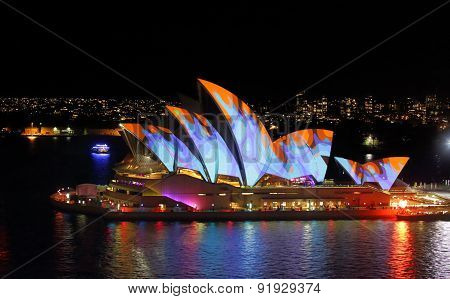 Sydney Opera House In Orange And Blue During Vivid Sydney