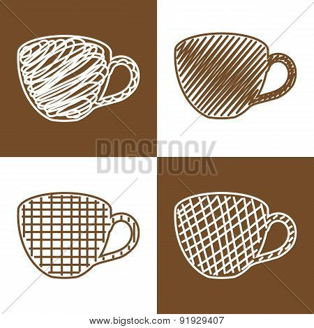 Set of hand drawn cups
