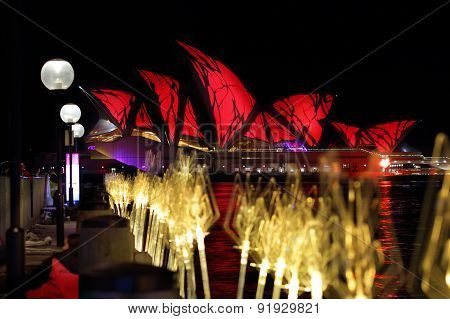 Sydney Opera House In Bright Red For Vivid Sydney