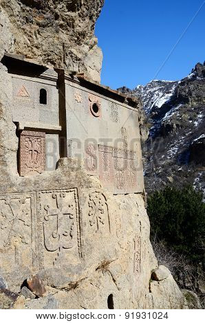 Cells Of Geghard Rock Monastery With Ancient Khachkars - Memorable Crosses,armenia,Caucasus,Unesco
