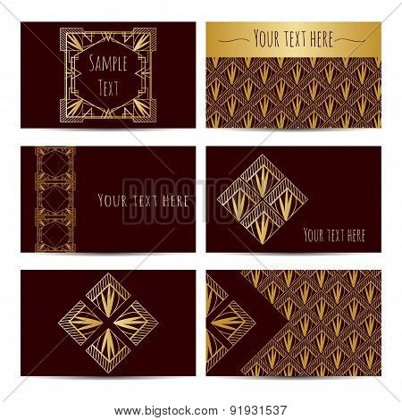 Collection Of Business Retro Card With Art Deco Patterns