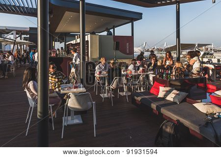 People Enjoying Martini Terrace At Expo 2015 In Milan, Italy