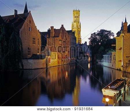 Canalside buildings at night, Bruges.