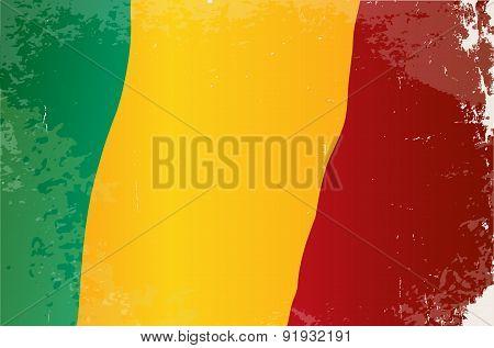Mali Flag Grunge