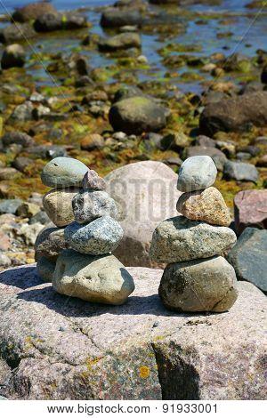 Three Balanced Stacks Of Pebble Stones