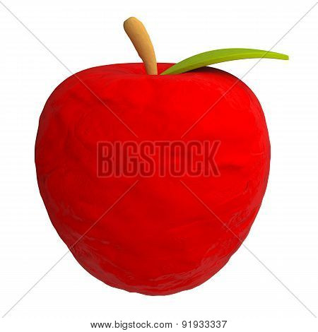 Cartoon apple from plasticine or clay