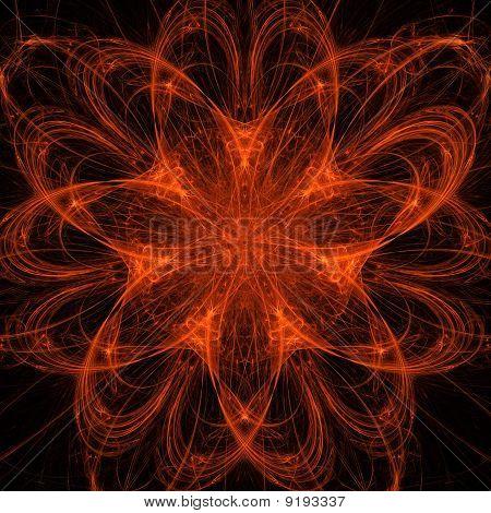 Orange Fractal Mandala