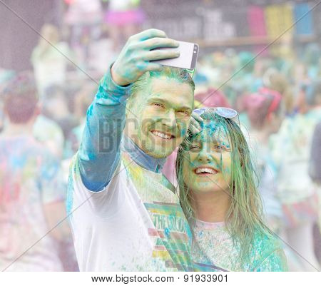 Good Looking Couple Taking A Selfie