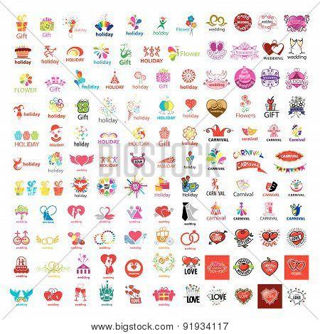Large Set Of Vector Logos Holiday