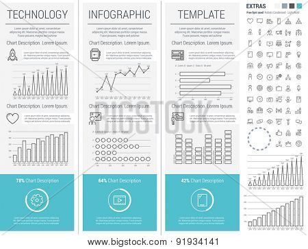 Thin Line Technology Infographic Elements, Charts and icons