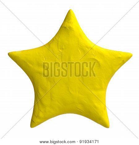 Cartoon star of plasticine or clay