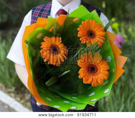 The School Student With Flowers, A Close Up, Flowers In The Center