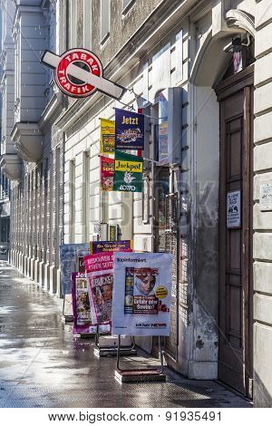 Tobacco Shop In Early Morning Light In Vienna