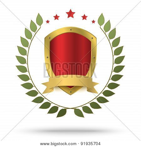 Gold Metal Shield In Green Wreath And Red Stars Above. Protection Or Victor's Symbol.