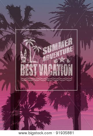 Exotic Print with Palms for T-shirt. Travel Background and Surfing Label. Vacation Banner.