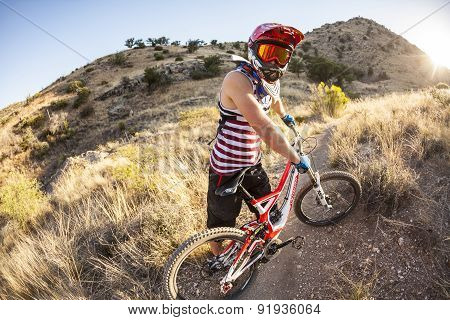 Downhill Rider Simon Seeholzer At Training