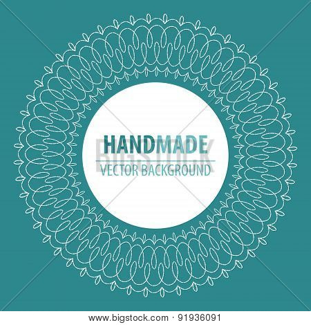 Fabric circle background with stitches